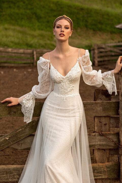 Свадебное платье Тюдаль, Коллекция Montana Wind 2022, Anne-Mariée